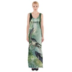 Awesome Seadraon In A Fantasy World With Bubbles Maxi Thigh Split Dress