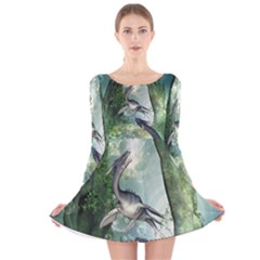 Awesome Seadraon In A Fantasy World With Bubbles Long Sleeve Velvet Skater Dress