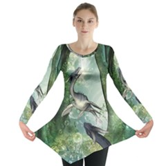 Awesome Seadraon In A Fantasy World With Bubbles Long Sleeve Tunic