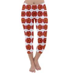 Red Rose Print Capri Winter Leggings