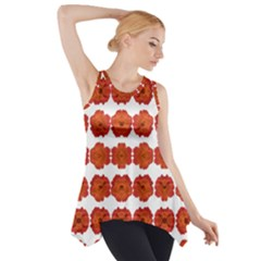 Red Rose Print Side Drop Tank Tunic