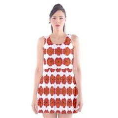 Red Rose Print Scoop Neck Skater Dress