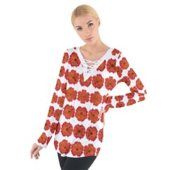Red Rose Print Women s Tie Up Tee