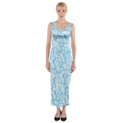 Officially Sexy Baby Blue & White Cracked Pattern Fitted Maxi Dress