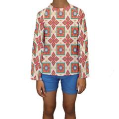 Floral pattern   Kid s Long Sleeve Swimwear