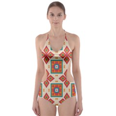 Floral Pattern  Cut Out One Piece Swimsuit