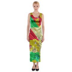 Colorful 3D texture   Fitted Maxi Dress