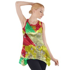 Colorful 3D texture   Side Drop Tank Tunic