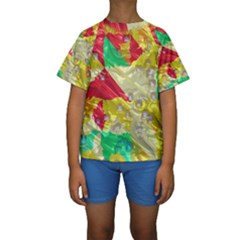 Colorful 3D texture    Kid s Short Sleeve Swimwear