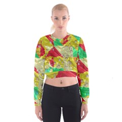 Colorful 3d Texture     Women s Cropped Sweatshirt