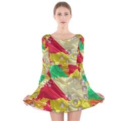 Colorful 3D texture   Long Sleeve Velvet Skater Dress