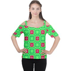 Green red squares pattern    Women s Cutout Shoulder Tee
