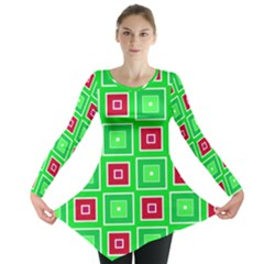 Green Red Squares Pattern    Long Sleeve Tunic