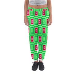 Green red squares pattern    Women s Jogger Sweatpants