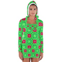 Green Red Squares Pattern    Women s Long Sleeve Hooded T Shirt
