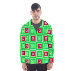 Green red squares pattern    Mesh Lined Wind Breaker (Men)