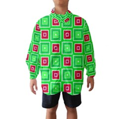 Green Red Squares Pattern    Wind Breaker (kids)