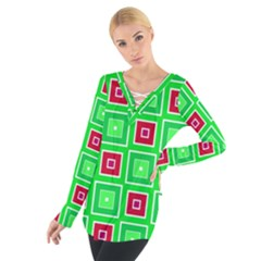 Green red squares pattern     Women s Tie Up Tee