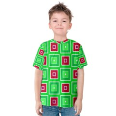 Green red squares pattern    Kid s Cotton Tee