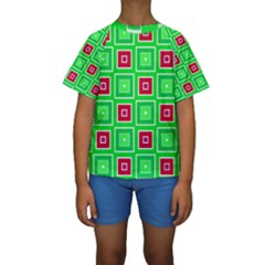 Green red squares pattern     Kid s Short Sleeve Swimwear