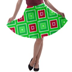 Green red squares pattern    A-line Skater Skirt