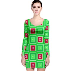 Green red squares pattern    Long Sleeve Velvet Bodycon Dress