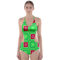 Green Red Squares Pattern    Cut Out One Piece Swimsuit