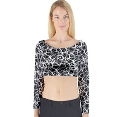 Officially Sexy Black & White Cracked Pattern Long Sleeve Crop Top (Tight Fit)