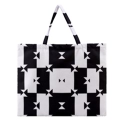 Black And White Check Pattern Zipper Large Tote Bag