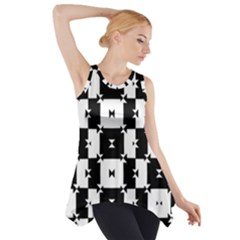 Black and White Check Side Drop Tank Tunic