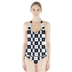 Black and White Check Women s Halter One Piece Swimsuit