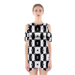 Black and White Check Cutout Shoulder Dress