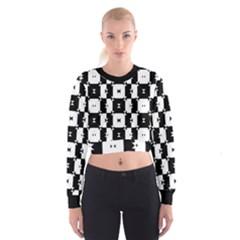 Black and White Check Women s Cropped Sweatshirt