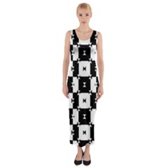 Black and White Check Fitted Maxi Dress