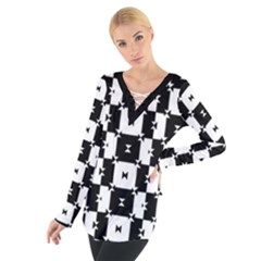 Black And White Check Women s Tie Up Tee