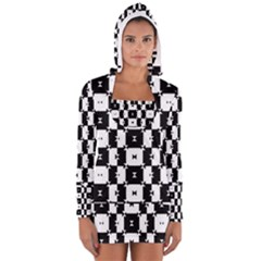 Black and White Check Women s Long Sleeve Hooded T-shirt