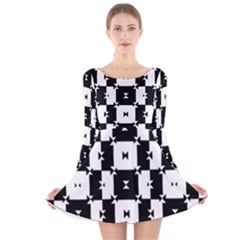 Black and White Check Long Sleeve Velvet Skater Dress