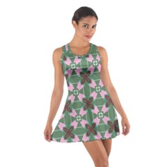 Pink Brown Flowers Pattern     Cotton Racerback Dress