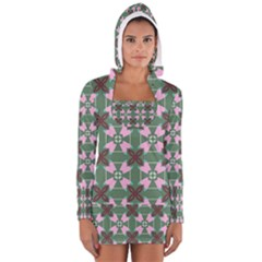 Pink brown flowers pattern     Women s Long Sleeve Hooded T-shirt