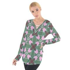 Pink brown flowers pattern      Women s Tie Up Tee