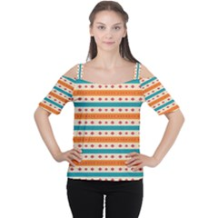Rhombus and stripes pattern      Women s Cutout Shoulder Tee