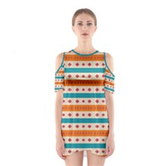 Rhombus and stripes pattern      Women s Cutout Shoulder Dress
