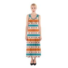 Rhombus And Stripes Pattern      Full Print Maxi Dress