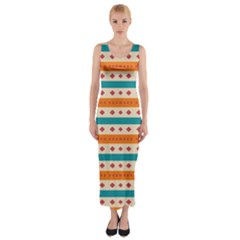 Rhombus and stripes pattern      Fitted Maxi Dress