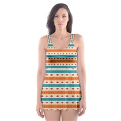 Rhombus and stripes pattern      Skater Dress Swimsuit