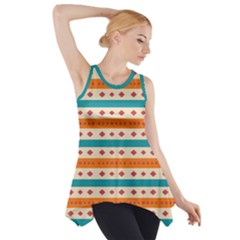 Rhombus and stripes pattern      Side Drop Tank Tunic