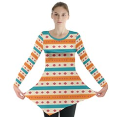 Rhombus and stripes pattern      Long Sleeve Tunic