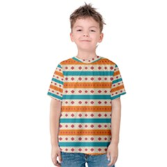 Rhombus And Stripes Pattern      Kid s Cotton Tee