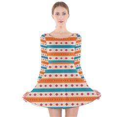 Rhombus and stripes pattern      Long Sleeve Velvet Skater Dress