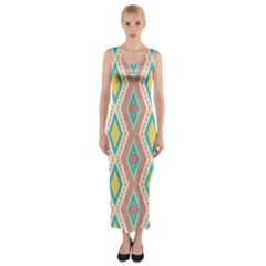 Rhombus Chains       Fitted Maxi Dress